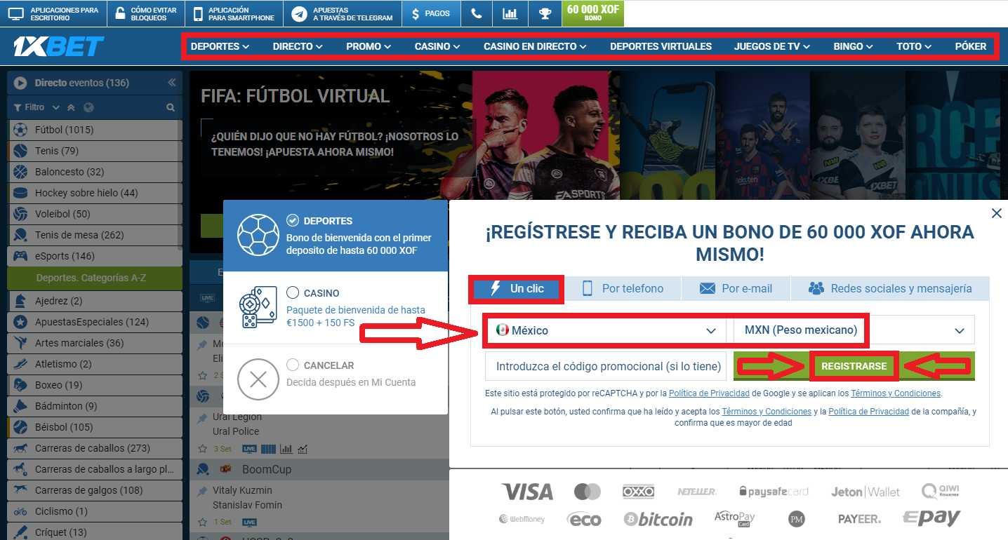 1xBet registro en México