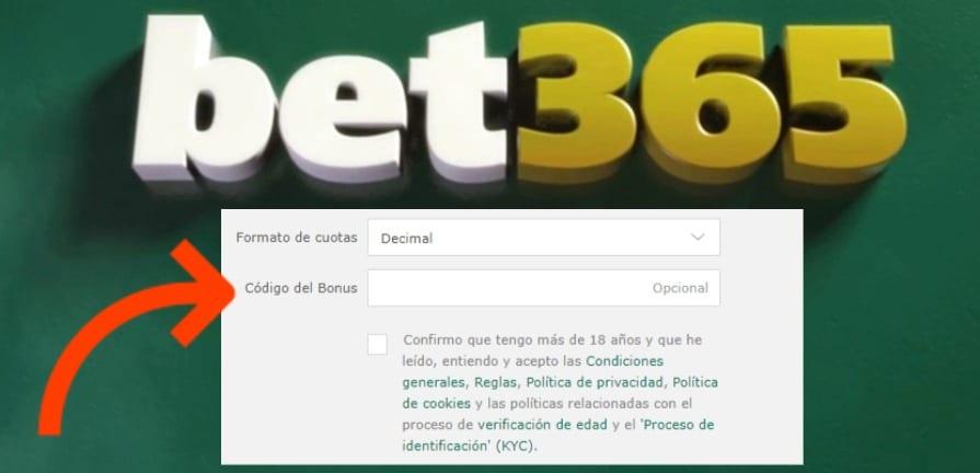 código bono Bet365 registro